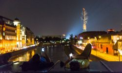 Aug 9, 2015: Russian youth relaxing above Moscow River