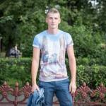 Oleg, 18, was walking around Nizhny Novgorod on a Sunday wearing a Brooklyn, New York shirt. He said he was studying construction.