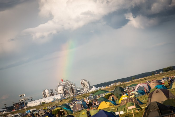 A rainbow extending down to the main stage at the Alfa Future People music festival.