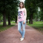 Anna, 20, was walking in Gorky Park. She is from Belarus, but studies in Moscow.