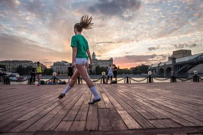 Anya, 24, practicing Irish Dance at Gorky Park
