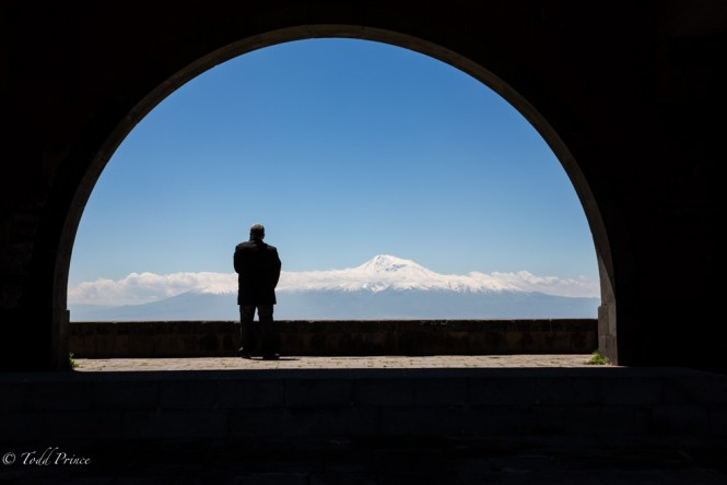 Armenian looking out onto Mt. Ararat.