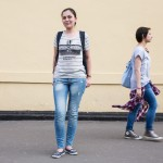 Svetlana, 29, was exiting the metro with friends right by Red Square wearing a Brooklyn t-shirt. A native of Saransk, a town 630 kilometers east of Moscow, Svetlana says she now works in banking in Moscow. She said images of skyscrapers, wide streets and shopping centers comes to mind when she thinks of New York.