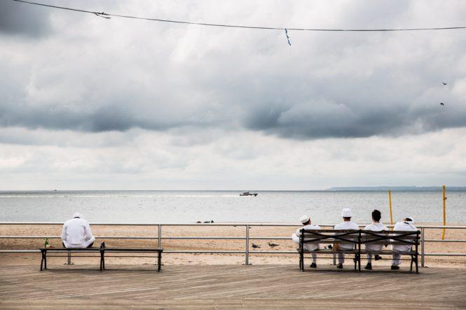 On set of Woody Allen film in Coney Island