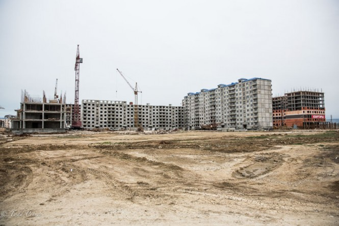 Housing projects going up on the outskirts of Makhachkala.