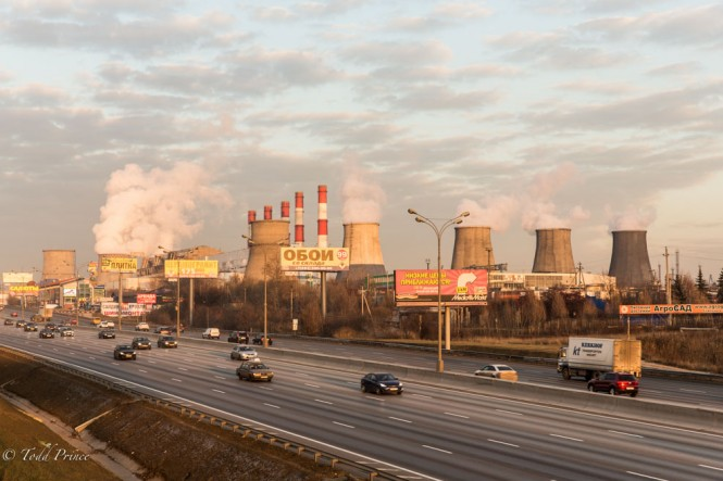 These thermal power plants that help power Moscow stand at the edge of the city on the other part of the MKAD. In colder weather, the steam is more visible, creating an impressive site.