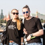 Elena and Vladislav, 20, were taking pictures of the Kremlin from a footbridge. Elena is from Sochi and would like to move to Moscow. Vladislav grew up in Volgograd and moved several years ago to Moscow, where he works as a barman.