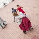 Russian folk dance class on the Moscow River.