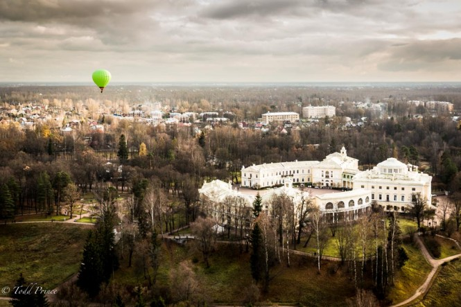 Another hot air balloon flying past the imperial residence known as Pavlovsk Palace.