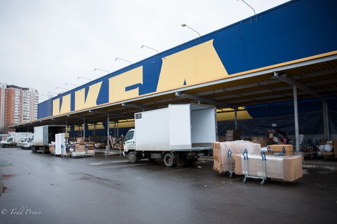 Ikea trucks being loaded up to carry orders to customers in Moscow and Moscow suburbs.