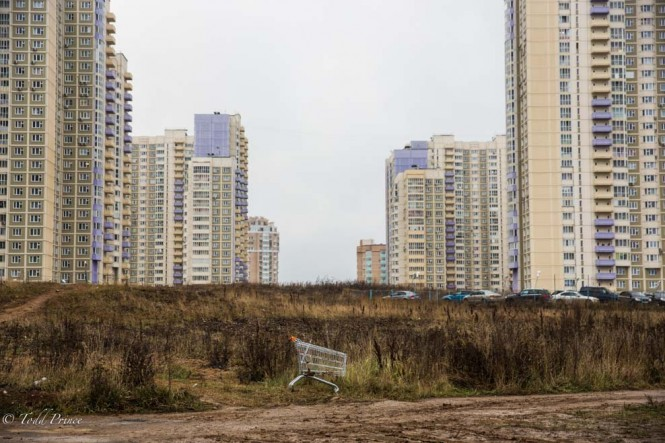 Sometimes those Ikea or MEGA shopping carts don't make it back to the store. In the background is the huge housing project by publicly traded Russian company PIK.