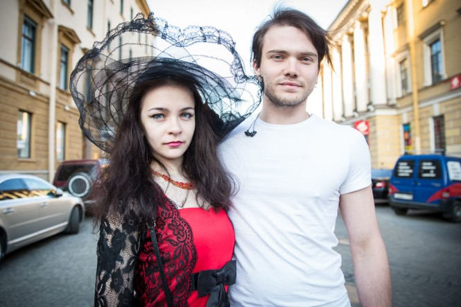 Young Russian Couple out for a stroll in St. Petersburg