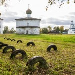 Cathedral Square in Kargopol. A church always seems to be around the corner in Kargopol, one of the most beautiful towns in Arkhangelsk oblast.