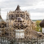A close up of the work on Church of the Nativity in Kargopol.
