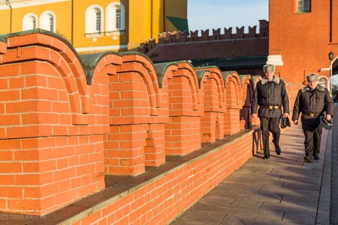 Two officers exiting the Kremlin.