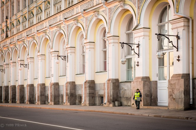 Inside the Kremlin walls, the grounds are pretty spotless and lawns well kept....thanks to people like this worker.