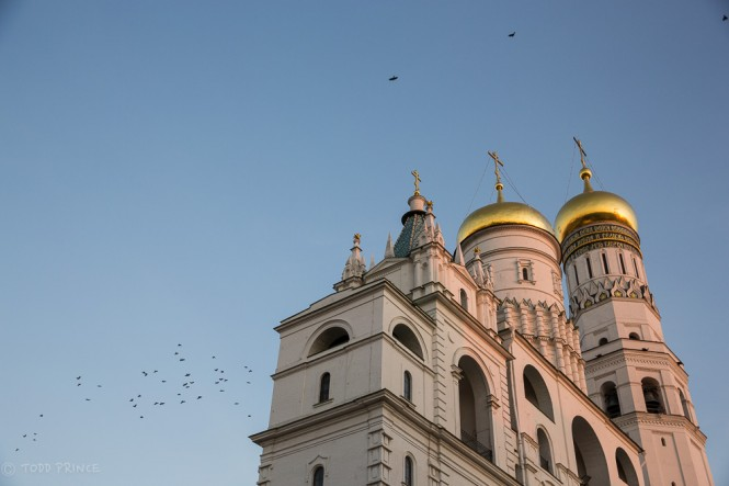 The quintessential photo of birds flying over a church at sunset...in this case, over the Ivan the Gret Bell Tower and Assumption Belfry.