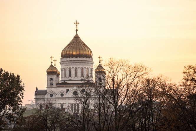 Christ the Savior Church at sunset as seen from ramp exiting the Kremlin.