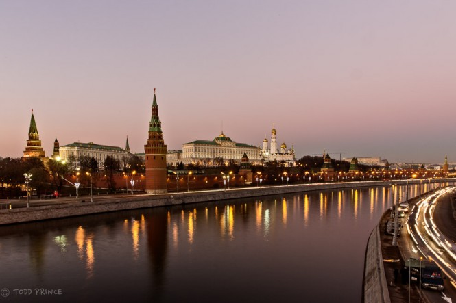 A pink sky covered the Kremlin after sunset.