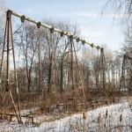 A Soviet-era swing rusting in a Kursk park.