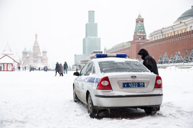 A police car parked on Red Square.