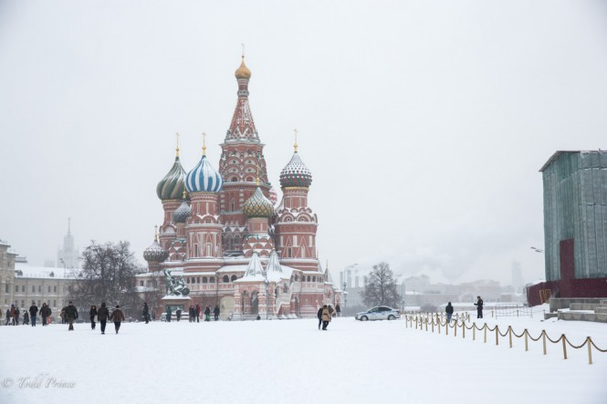 Snow covers the ground near St. Basil's on Red Square.