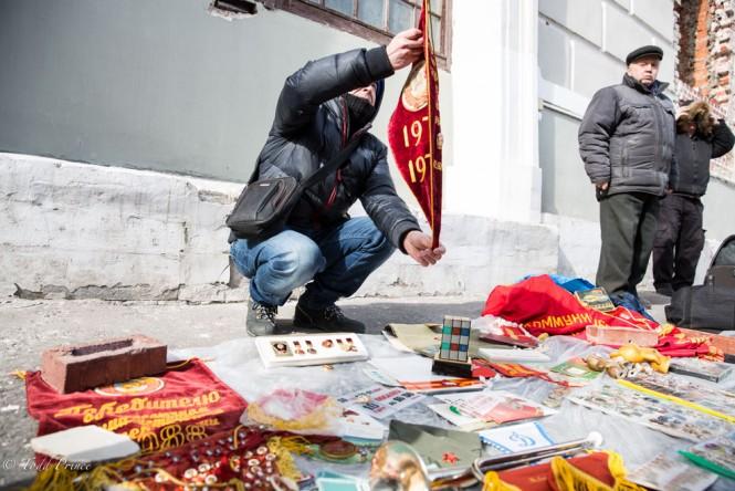 A man selling Soviet memorabilia.