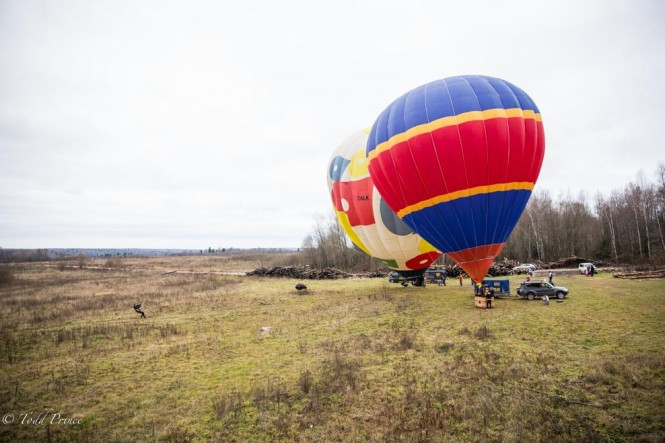 This shot is taken shortly after we lifted off. Below, two more hot air balloons ready for takeoff.