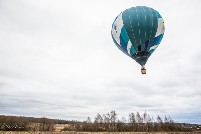 A hot air balloon taking off outside of Moscow on an overcast November Sunday.