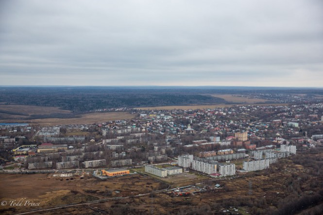 I would have liked to fly over this small town on the outskirts of Moscow at a lower height to see more detail.
