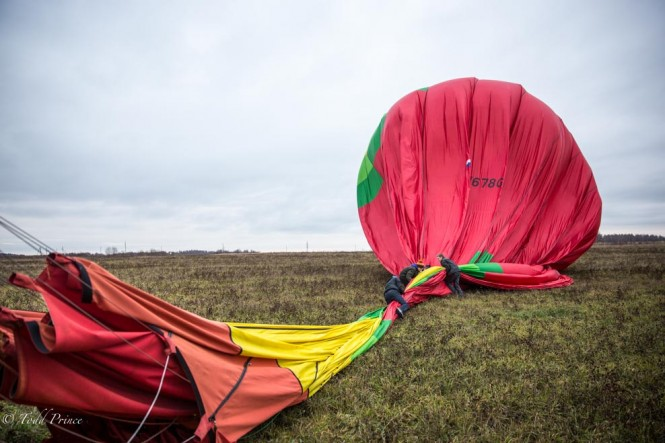 The crew working to wrap up our balloon after our flight, which went smoothly and safely.