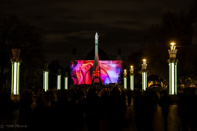 A multimedia show was also displayed on the Space Pavilion at All-Russia Exhibition Center.