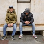 Djafro, 23, and his friend Jamshid, 20 (right), were both wearing New York hats while waiting for the Moscow metro. Natives of Uzbekistan, Jamshid wants to be a cop, while Djafro wants to be a professional photographer. Djafro currently takes photos of tourists at Red Square.