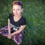Nastya, 24, wearing a Brooklyn t-shirt at the Nashestvie rock concert.
