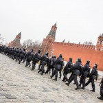 People strolled around Red Square as police prepared for the upcoming rally.