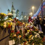 Many people came to lay flowers at the spot where Nemtsov was killed.