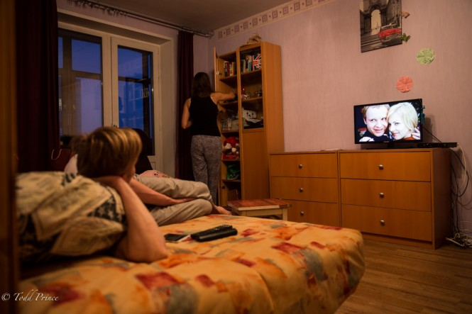 Ivan watching the Russian New Year's classic 'The Irony of Fate' for the second time in less than 24 hours.