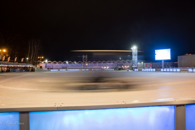A truck passes by as it cleans the ice rink at Sokolniki Park.