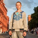 Alfred, 26, was exiting Red Square around sunset time sporting a sweater that read 'Brooklyn.' He said he was visiting Moscow from the town of Kazan and described himself as an artist.