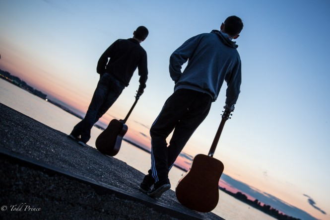 Two Russian 20 year-olds were playing their guitar as the sun set over the Volga.