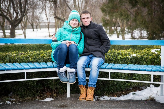 A young couple in Tiraspol. He said he might move to Russia.