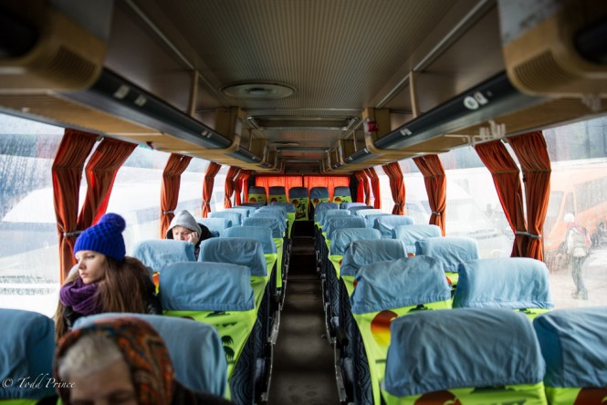 The bus bound for Tiraspol awaits passengers. It would be half full by the time it left.
