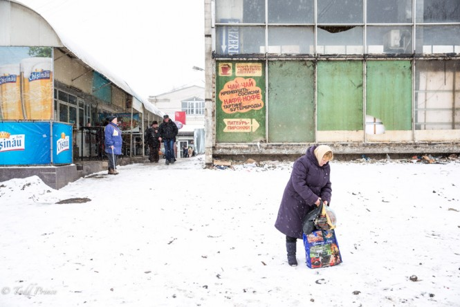 A woman outside the Chisinau bus station possibly on her way to Tiraspol.