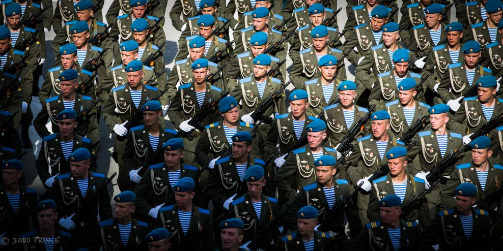 Russian Soldiers Marching in Victory Day Parade