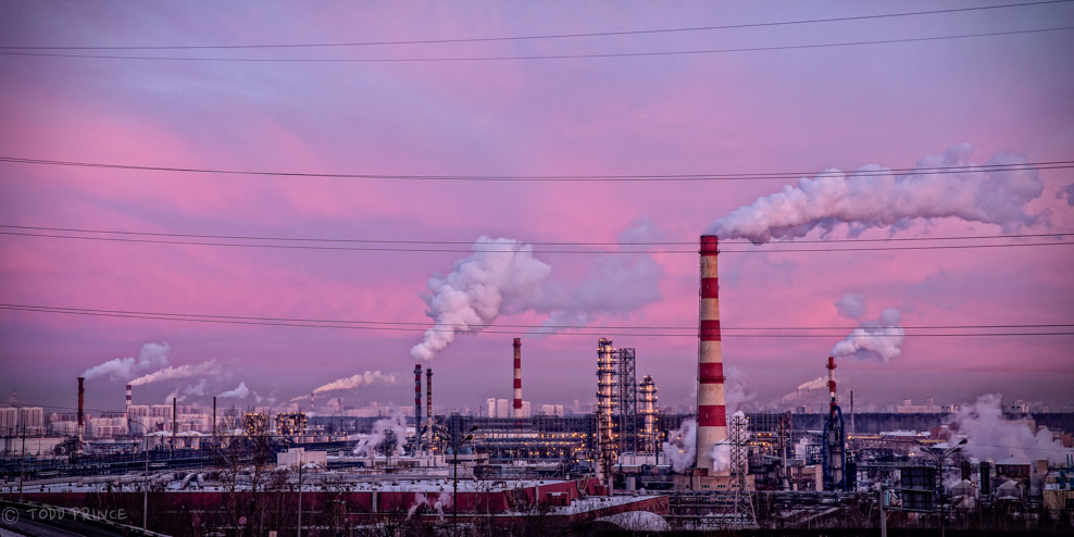 Russian Refinery during Cold Winter Sunrise