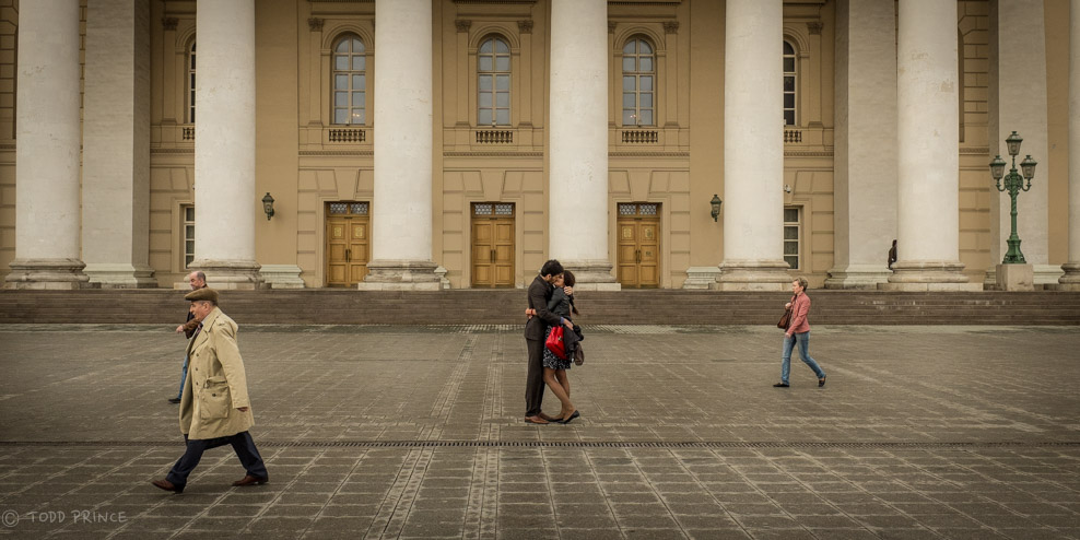 Russian Couple Kissing Before The Bolshoi