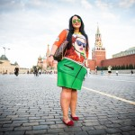 Ana, 29, grew up in Vilnius, Lithuania and now lives in Ireland. She was wearing an outfit by Russian designer Vika Smolyanitskaya as she strolled across Red Square.