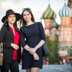 Veronica, 24, and Lyudmila, 25, were out for a stroll on Red Square at sunset time. Veronica, left, is studying programming in Germany while Lyudmila work in the real estate industry.