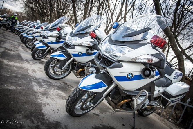 Police motorbikes lined up outside the headquarters.