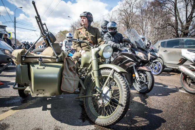 The motorcycle opening event attracts people with all sorts of models, including retro and military.